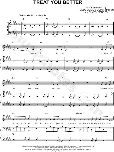 Print and download Treat You Better sheet music by Shawn