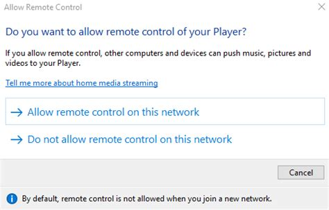 Allow remote control of my Player