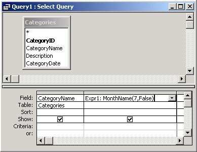 MS Access: MonthName Function