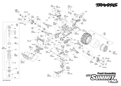 Exploded view: Traxxas Summit 1:16 VXL - Front part | Astra