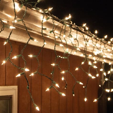 Christmas Icicle Light - 150 Clear Icicle Lights - Green Wire